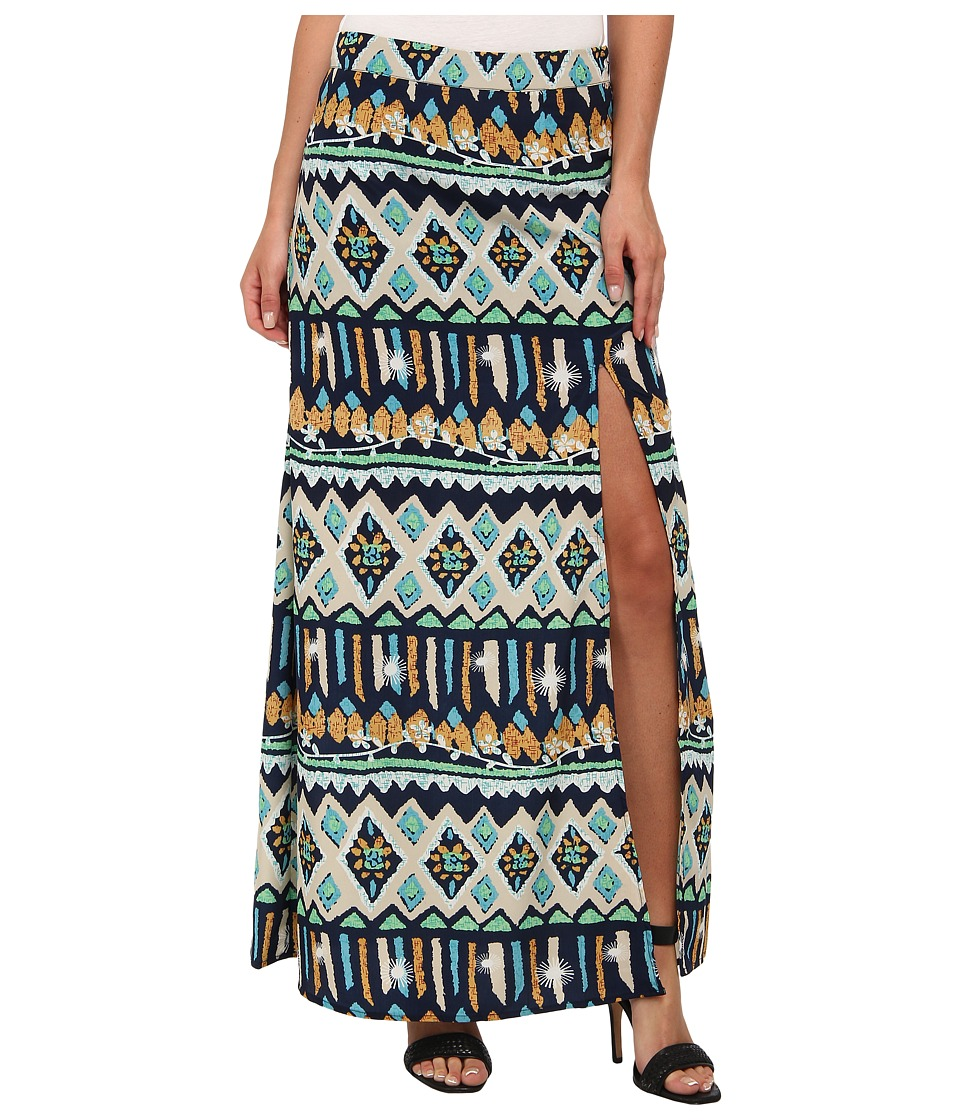 KAS New York - Yumi Print Maxi Skirt (Blue) Women's Skirt