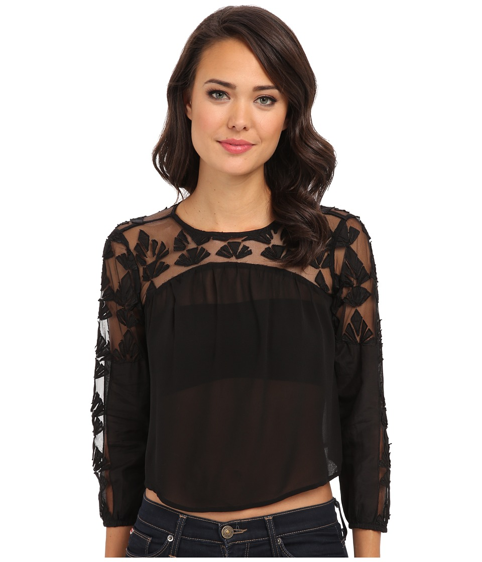 KAS New York - Coventina Mesh/Cut Work Top (Black) Women's Blouse