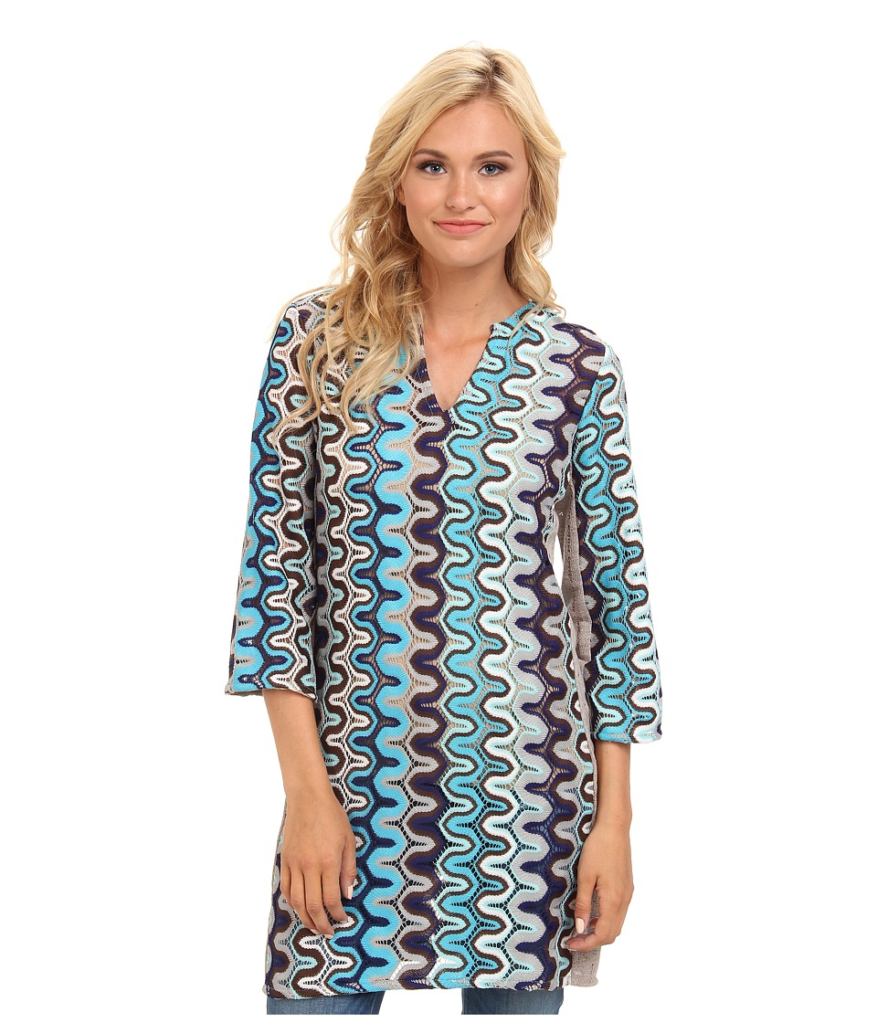 KAS New York - Adsila Crochet Tunic (Blue) Women's Clothing