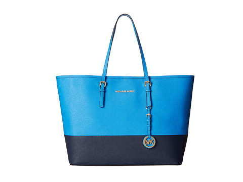 MICHAEL Michael Kors Jet Set Travel Medium Travel Tote (Heritge Blue/Navy) Tote Handbags