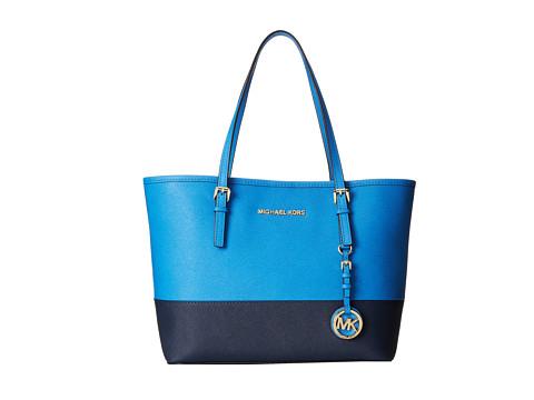 MICHAEL Michael Kors Jet Set Travel Small Travel Tote (Heritge Blue/Navy) Tote Handbags