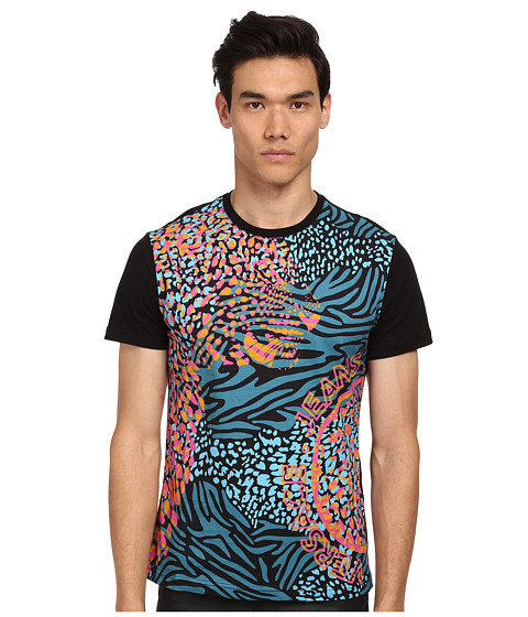 Versace Jeans - Neon Panther Zebra Print Tee (Blue) Men's T Shirt