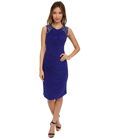 Vince Camuto - Beaded Shoulder Dress (Cobalt/Cobalt/Academy) Women's Dress