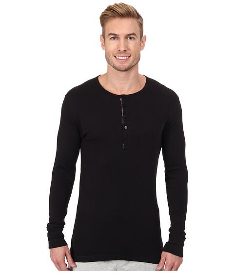 2(X)IST - Tartan L/S Henley (Black) Men's Pajama