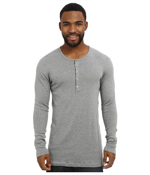 2(X)IST - Tartan L/S Henley (Grey Heather) Men's Pajama