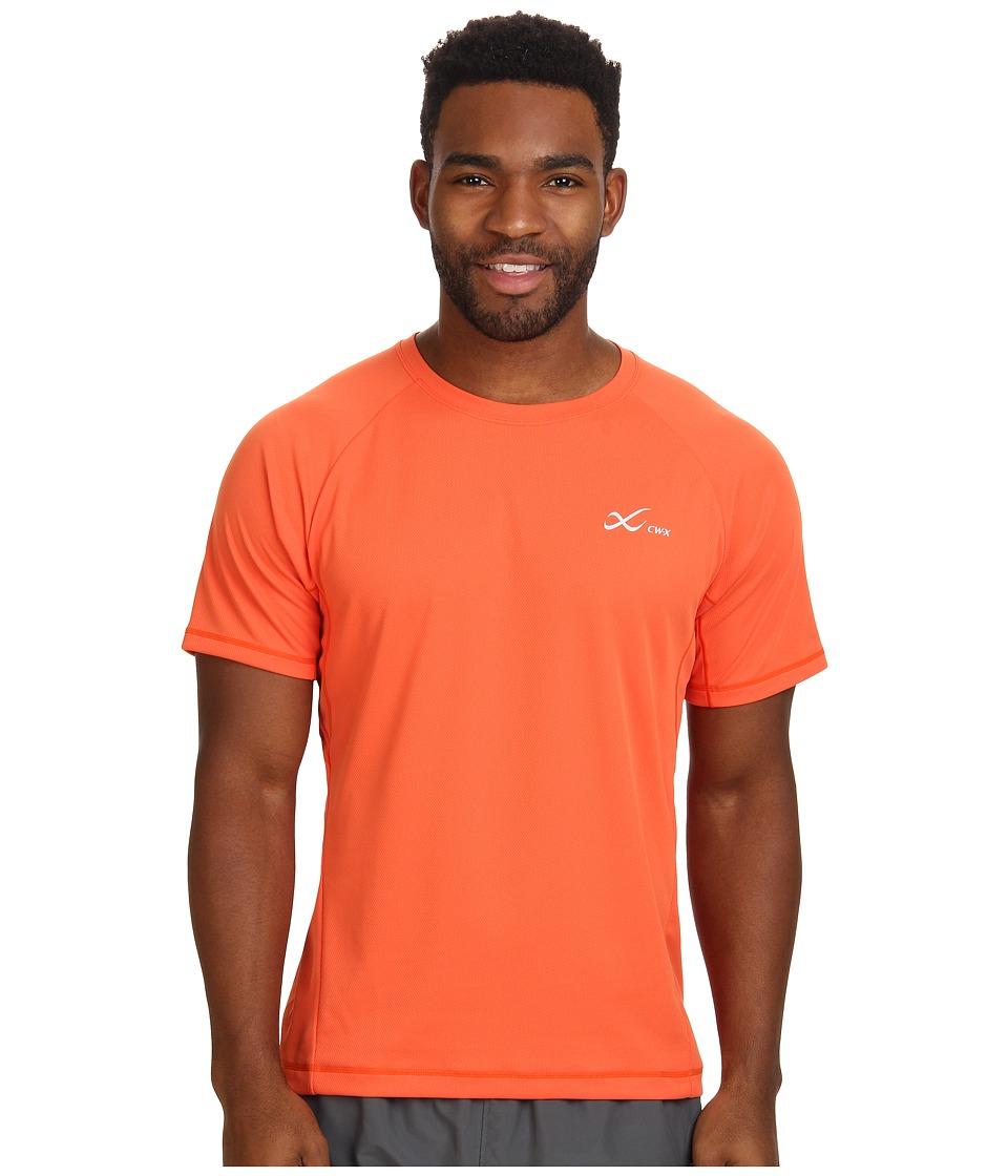 CW-X - S/S Ventilator Mesh Top (Orange) Men's Short Sleeve Pullover