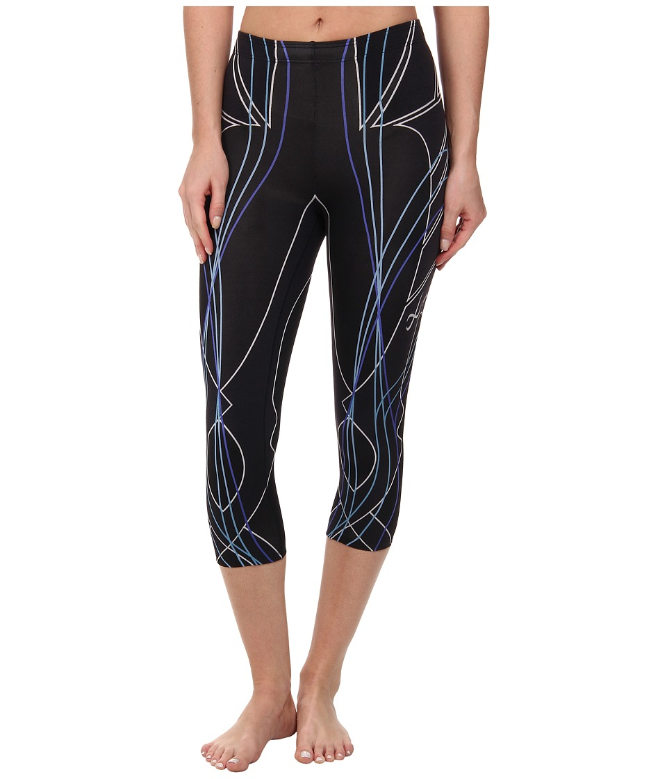 CW-X - 3/4 Revolution Tights (Black/Blueline Print) Women's Capri