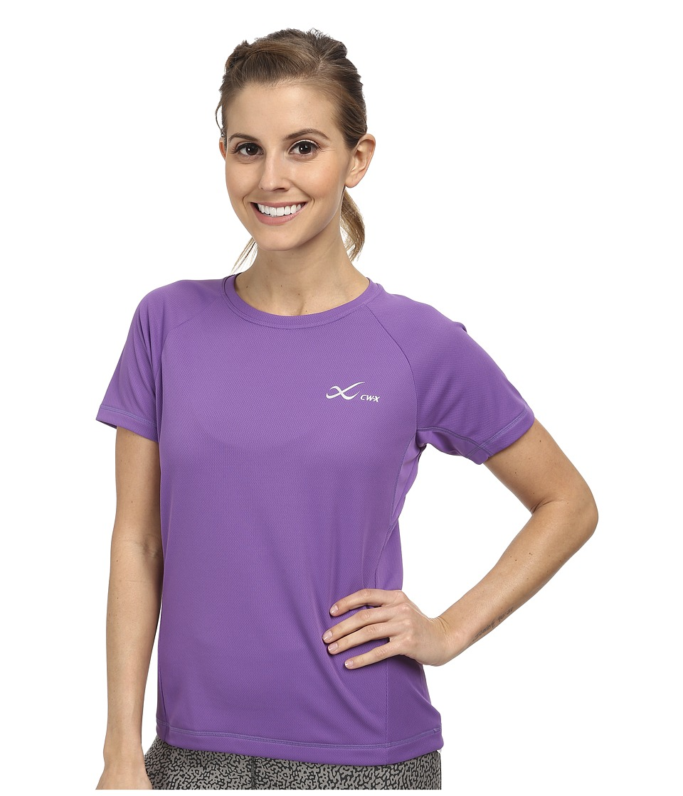 CW-X - S/S Ventilator Mesh Top (Purple) Women's Short Sleeve Pullover
