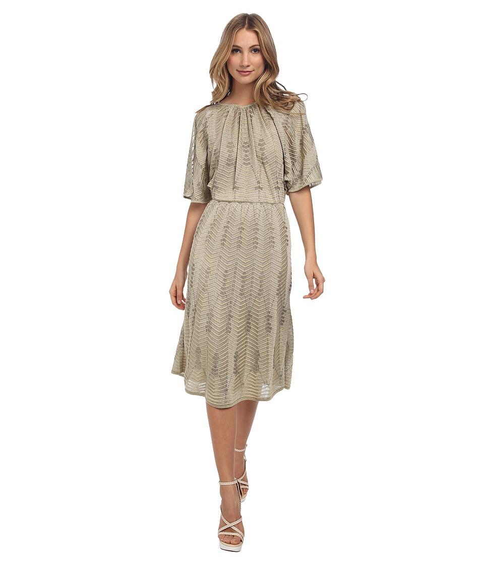 M Missoni - Solid Lurex V-Back Dress (Platinum) Women