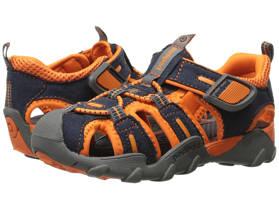 pediped - Canyon Flex (Toddler/Little Kid) (Navy/Orange) Boy's Shoes