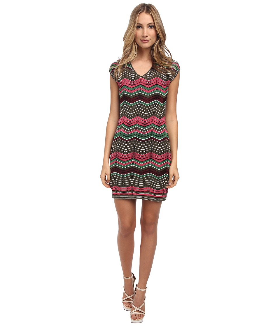 M Missoni - Multi Zig Zag Stripe V-Neck Dress (Pink) Women's Dress