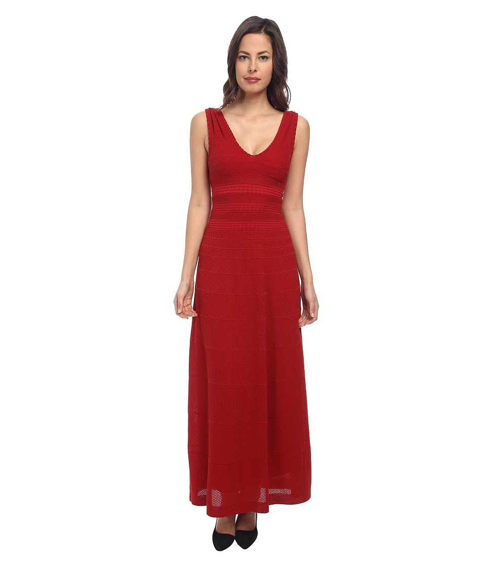 M Missoni - Solid Rib Stitch Long Dress (Rouge) Women's Dress