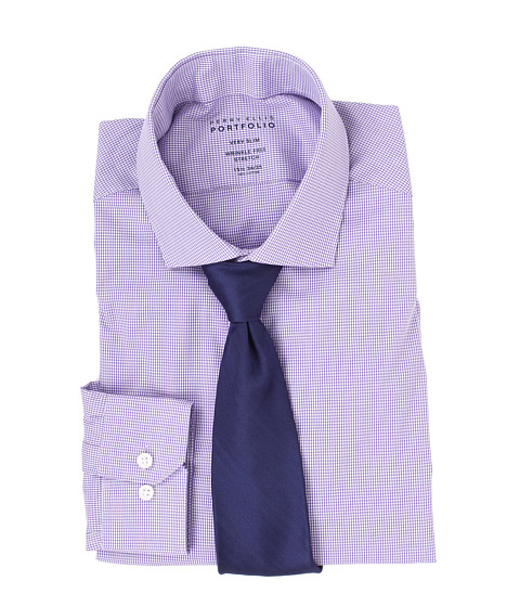Perry Ellis - Very Slim Wrinkle Free Gingham L/S Dress Shirt (Violet) Men's Dress