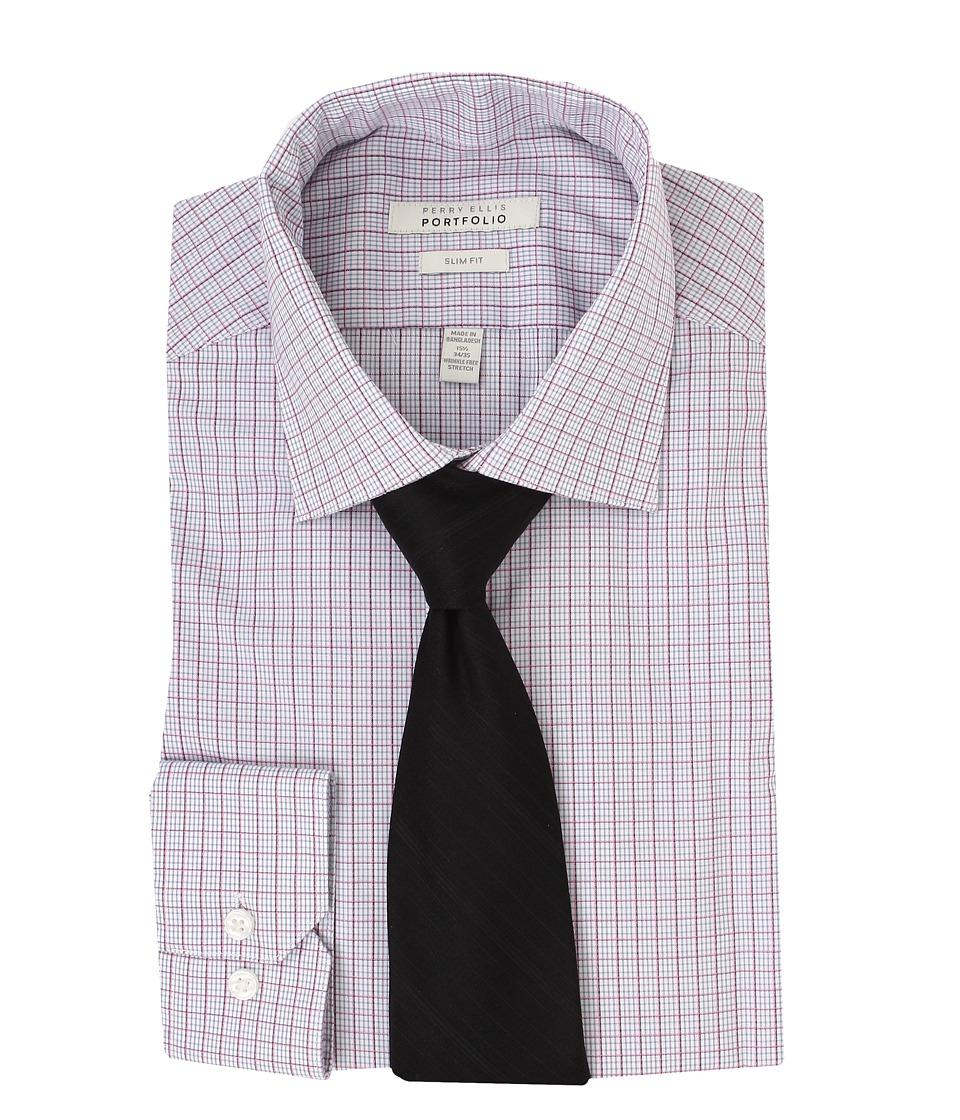 Perry Ellis - Slim Fit Wrinkle Free Plaid L/S Dress Shirt (Pink Multi) Men