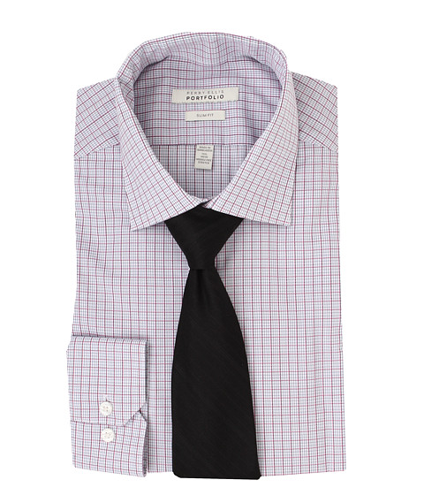 Perry Ellis - Slim Fit Wrinkle Free Plaid L/S Dress Shirt (Pink Multi) Men's Dress