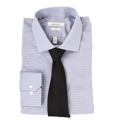 Perry Ellis - Slim Fit Wrinkle Free Dobby L/S Dress Shirt (Grey) Men's Long Sleeve Button Up
