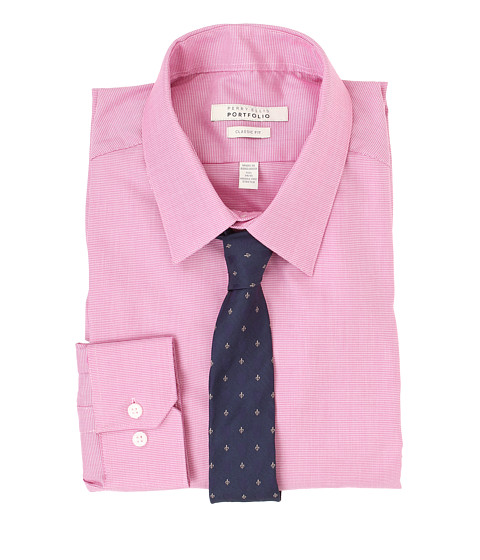 Perry Ellis - Slim Fit Wrinkle Free Mini Houndstooth L/S Dress Shirt (Pink) Men's Long Sleeve Button Up