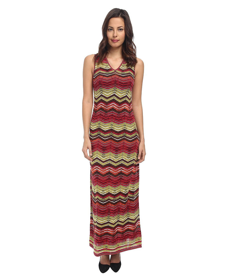 M Missoni - Multi Zig Zag Maxi Dress (Rouge) Women's Dress