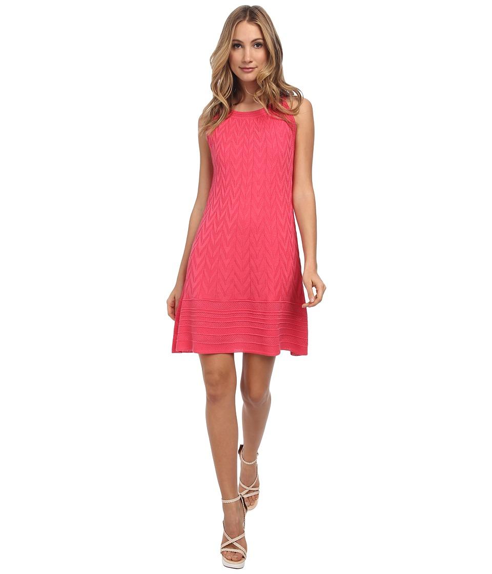 M Missoni - Solid Chevron Knit Trapeze Dress (Pink) Women