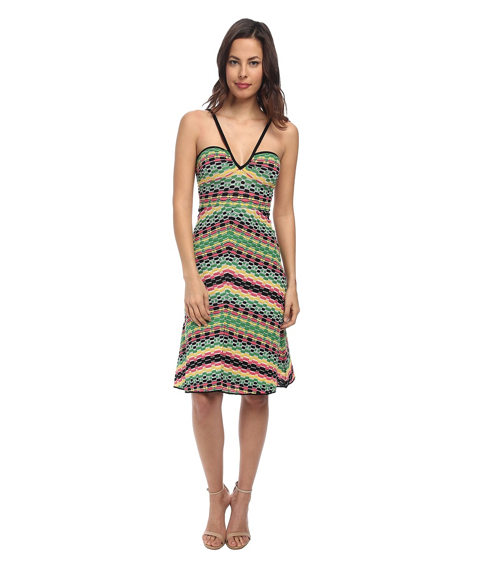 M Missoni - Vertical Geometric Stripe V-Neck Dress (Black) Women's Dress