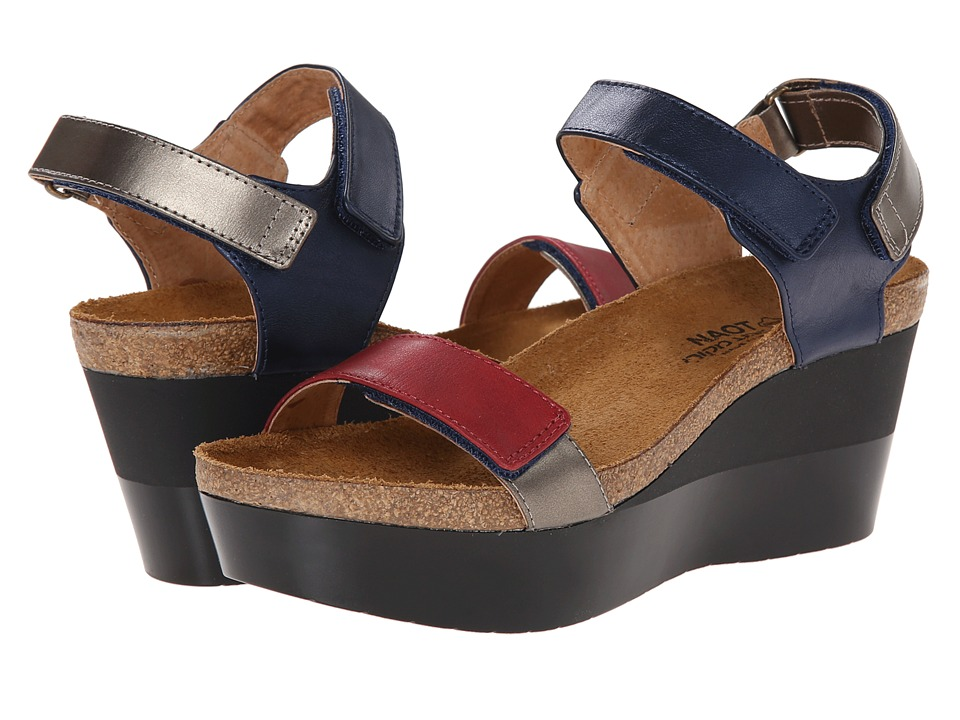 Naot Footwear - Miracle (Polar Sea Leather/Pewter Leather/Ruby Leather/Pewter Leather) Women's Shoes