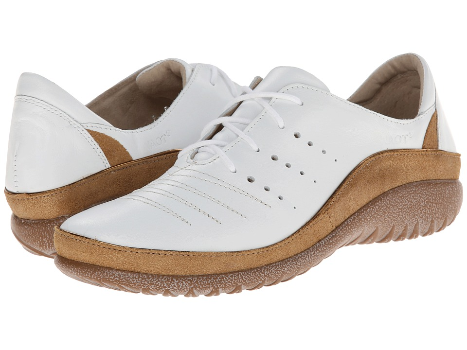 Naot Footwear - Kumara (White Leather/Gold Shimmer Leather) Women's Lace up casual Shoes