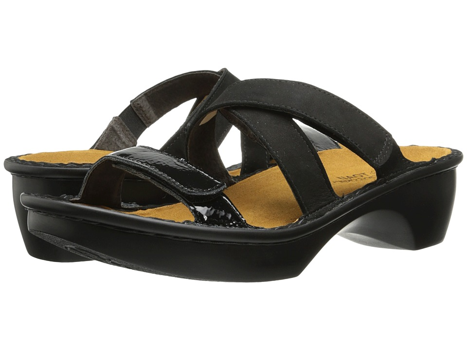 Naot Footwear Quito (Black Velvet Nubuck/Black Patent Leather) Women