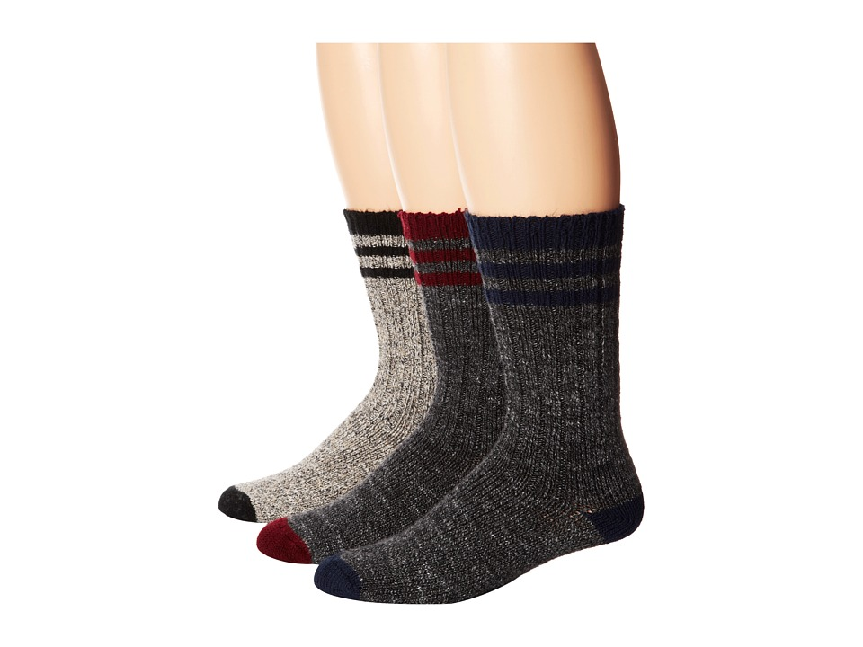 Wigwam - Pine Lodge 3-pack (Natural/Black/Charcoal/Burgendy/Charcoal/ Navy) Crew Cut Socks Shoes