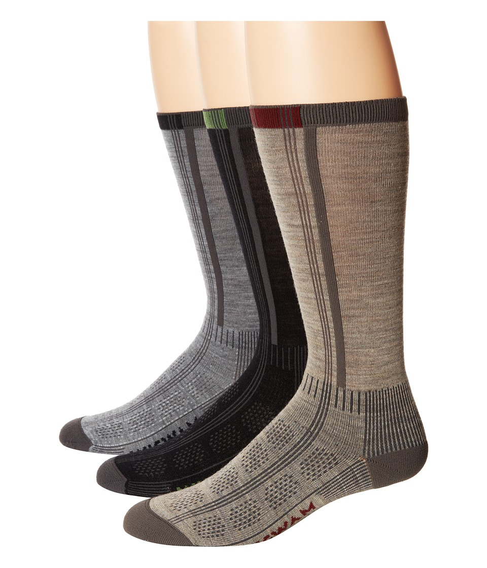 Wigwam - Rebel Fusion Crew II 3-pack (Black/Grey/Khaki) Crew Cut Socks Shoes