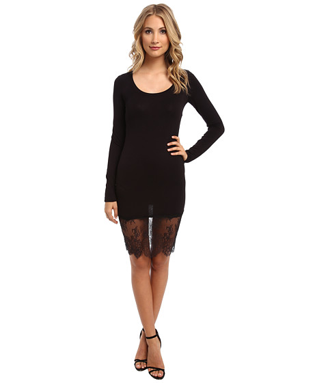 BCBGMAXAZRIA - Livi Lace Hem Dress (Black) Women's Dress