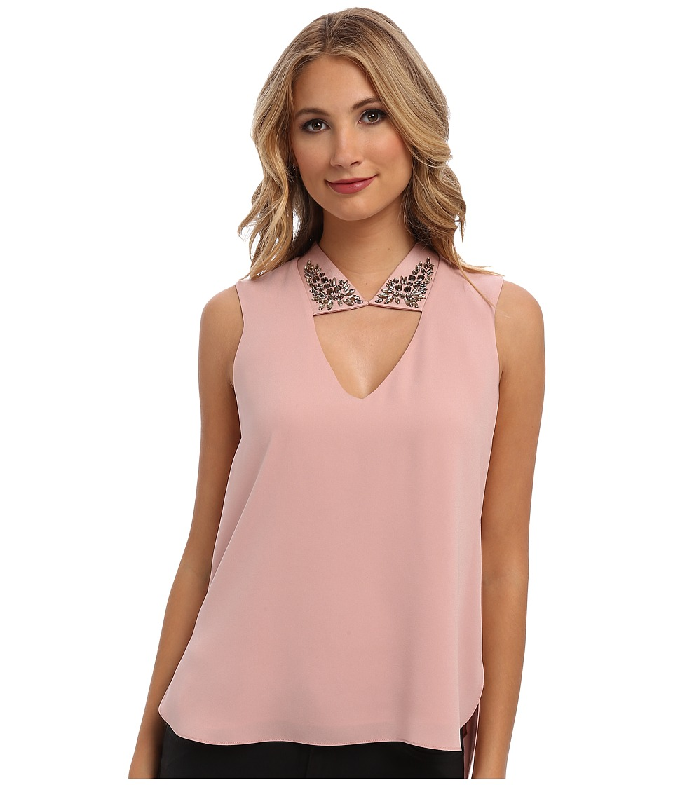 BCBGMAXAZRIA - Sofie Embellished Collar Top (Shadow Blush) Women's Sleeveless