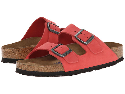 Birkenstock - Arizona Soft Footbed - Leather (Unisex) (Tea Rose Nubuck) Sandals