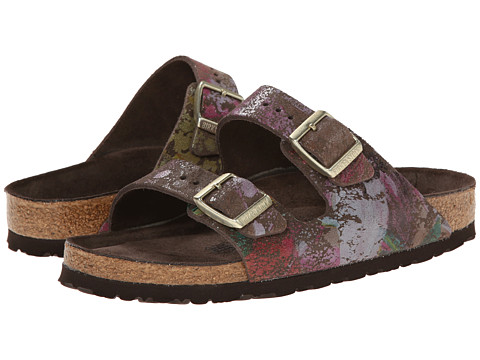 Birkenstock - Arizona Soft Footbed - Suede (Unisex) (Flower Crush Mocha Suede) Sandals