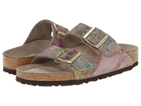 Birkenstock - Arizona Soft Footbed - Suede (Unisex) (Flower Crush Taupe Suede) Sandals