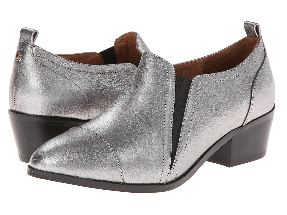 Yosi Samra - Demi Tumbled Metallic Leather Ankle Boot (Dark Silver) Women
