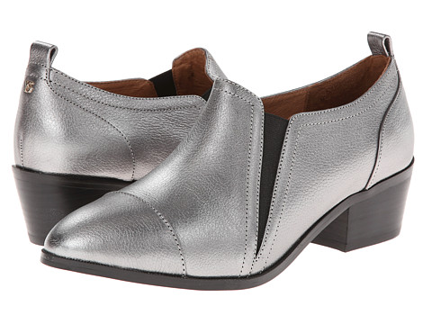 Yosi Samra - Demi Tumbled Metallic Leather Ankle Boot (Dark Silver) Women