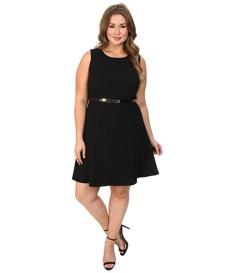 Calvin Klein Plus - Plus Size Flared Crepe Woven Dress (Black) Women's Dress