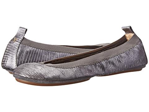 Yosi Samra - Samara Lagarto Metallic Leather Fold Up Flat (Pewter) Women