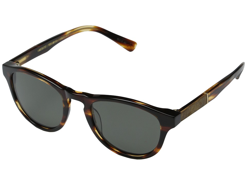 Shwood - Francis Fifty-Fifty - Polarized (Tortoise Shell/Maple Burl/Grey Polarized) Fashion Sunglasses