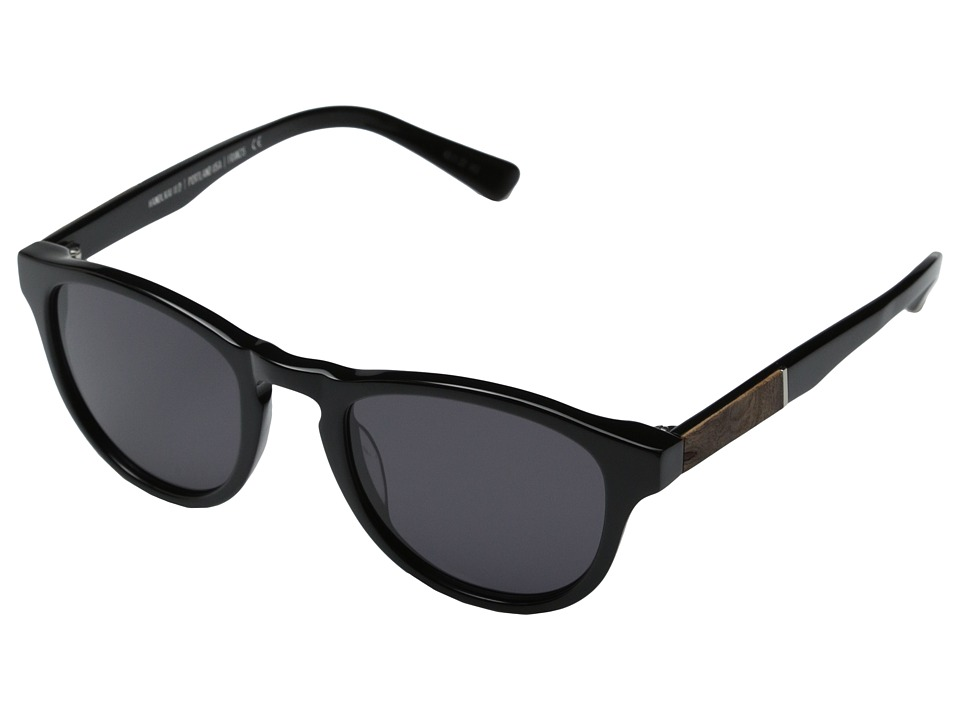 Shwood - Francis Fifty-Fifty (Black/Elm Burl/Grey) Fashion Sunglasses