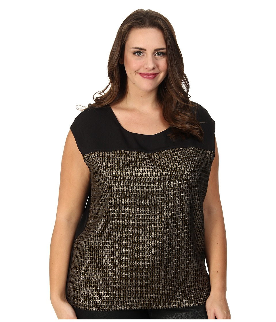 Calvin Klein Plus - Plus Size Grid Extended Shoulder Top (Black) Women's Sleeveless