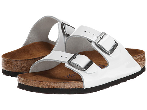 Birkenstock - Arizona Soft Footbed - Leather (Unisex) (Bright White Patent) Sandals
