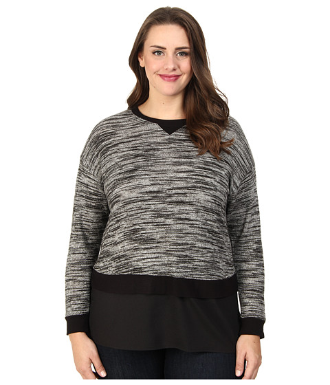 Calvin Klein Plus - Plus Size L/S Snit w/ Crepe de Chine Bottom (Birch/Black) Women's Sweater