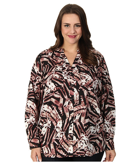 Calvin Klein Plus - Plus Size Print Crew Neck Roll Sleeve Blouse (Rouge Multi) Women