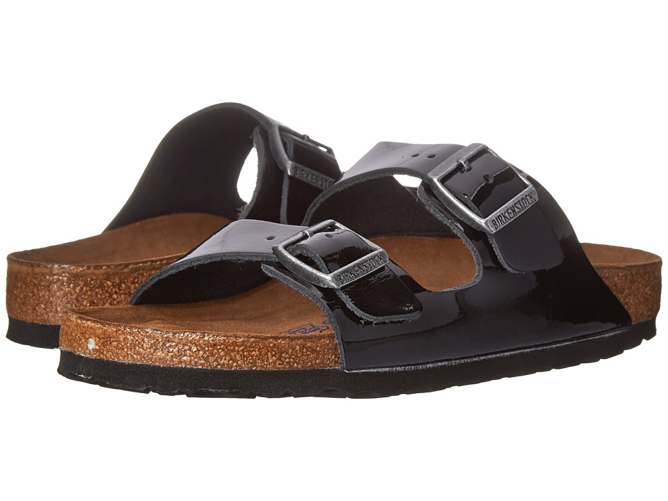 Birkenstock - Arizona Soft Footbed - Leather (Unisex) (Black Patent) Sandals