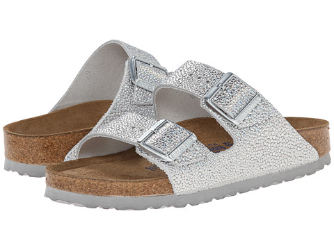Birkenstock - Arizona Soft Footbed - Leather (Unisex) (Pebbles Metallic Silver) Sandals