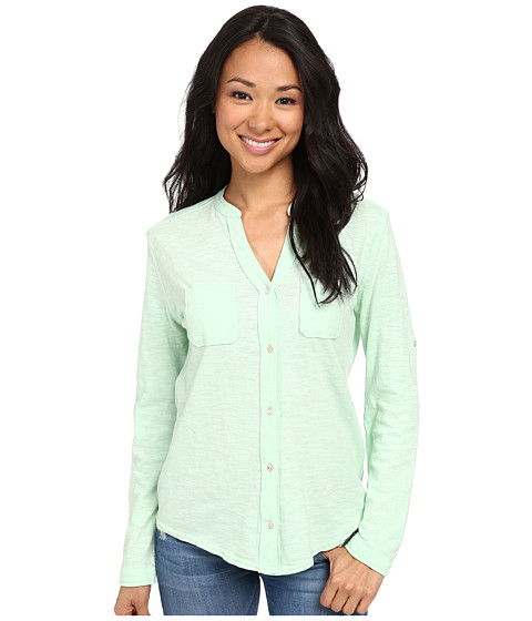 Woolrich - Convertible Knit Shirt (Fresh Mint) Women's Long Sleeve Button Up