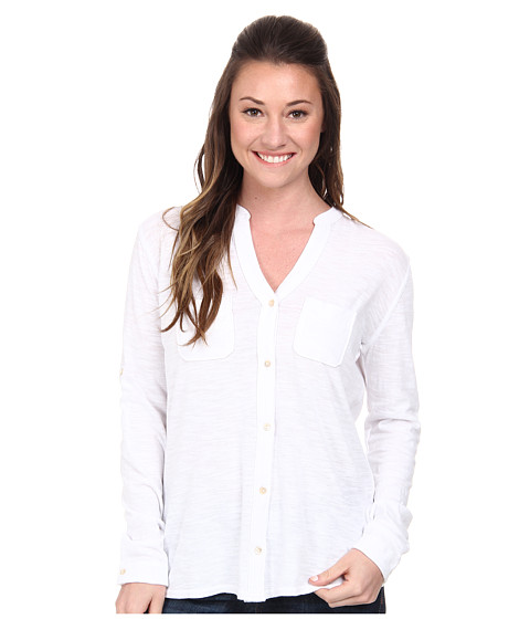 Woolrich - Convertible Knit Shirt (Seasalt) Women's Long Sleeve Button Up