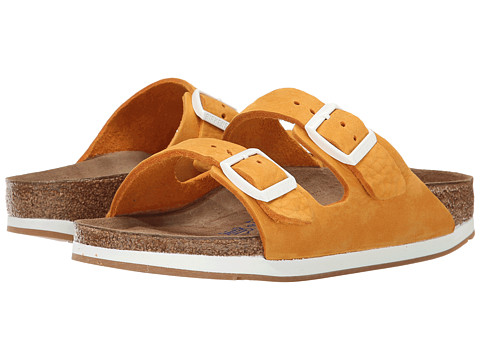 Birkenstock - Arizona Soft Footbed - Leather (Unisex) (Orange Nubuck) Sandals