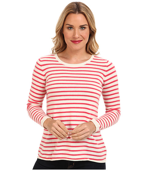 Kier + J - Striped Crew (Gloss/Cr me) Women's Sweater